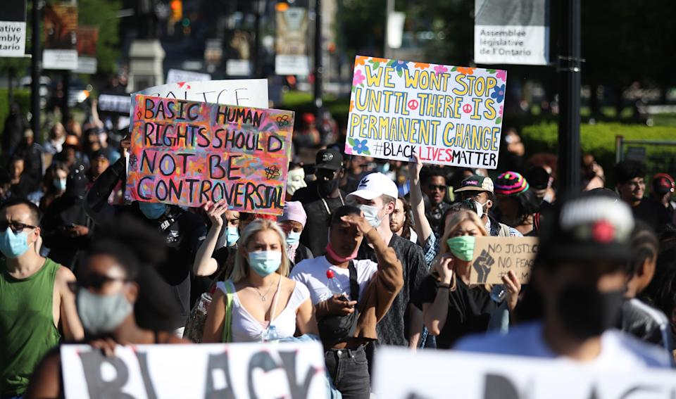 TORONTO, ON- JUNE 6  - A peaceful marches for Black Lives Matter snake through the downtown between Nathan Phillips Square and Queens Park  in Toronto. June 6, 2020.        (Steve Russell/Toronto Star via Getty Images)