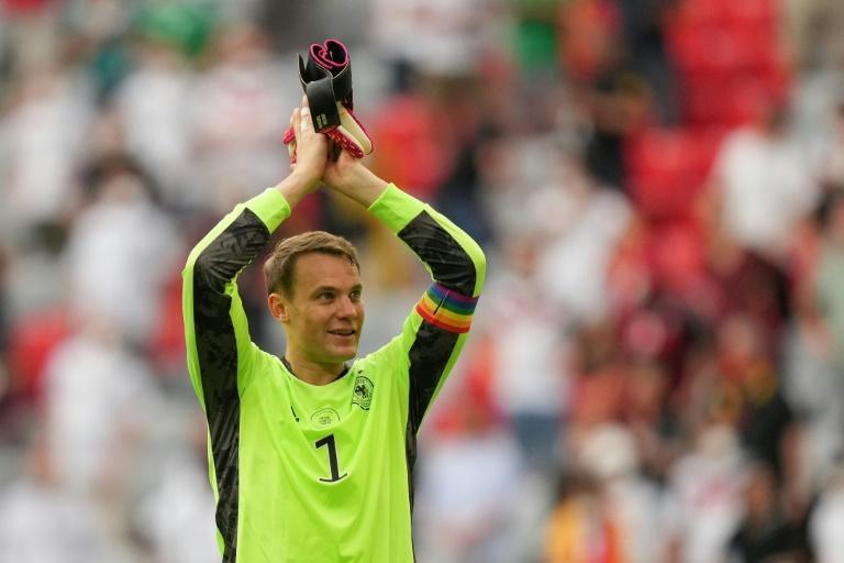 Manuel Neuer, wearing the rainbow-coloured captain's armband, after Germany's win over Portugal at Euro 2020
