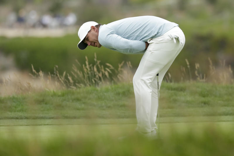 Brooks Koepka reacts after missing a birdie putt on the 18th hole during the final round of the U.S. Open Championship golf tournament Sunday, June 16, 2019, in Pebble Beach, Calif. (AP Photo/Matt York)