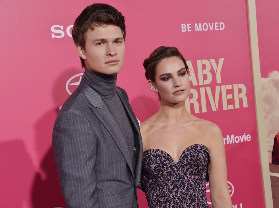 """(L-R) Ansel Elgort and Lily James together at the """"Baby Driver"""" Los Angeles Premiere held at the Ace Hotel Downtown in Los Angeles, CA on Wednesday, June 14, 2017. (Photo By Sthanlee B. Mirador) *** Please Use Credit from Credit Field ***"""