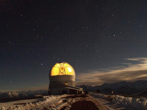 A time exposure view of the SOAR telescope observing at Cerro Pachon in Chile.