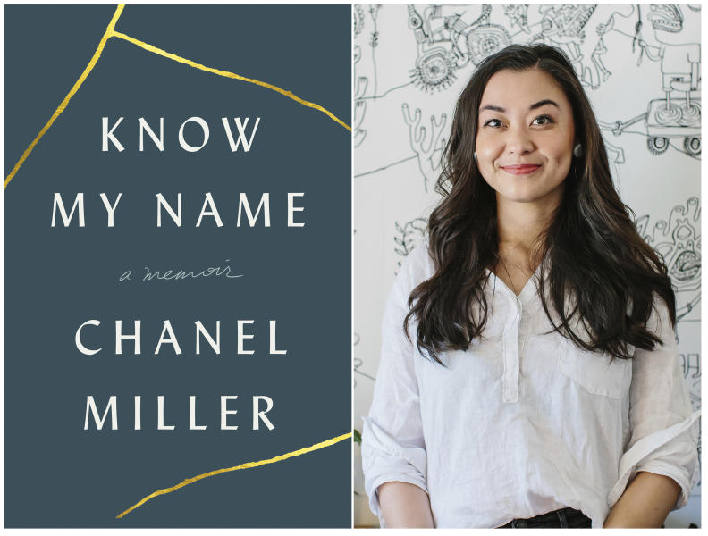 "This combination photo of images released by Viking shows the cover of ""Know My Name,"" left, and author Chanel Miller.  Miller was awarded the Book Critics Circle in autobiography for ""Know My Name,"" her book about being sexually assaulted by Stanford University student Brock Turner. (Viking, left, and Mariah Tiffany via AP)"