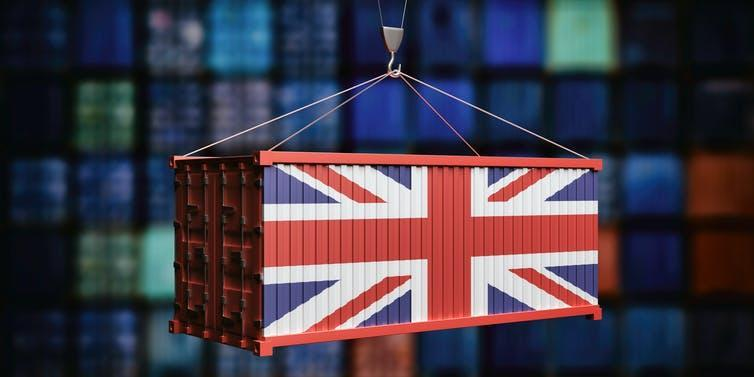 UK flag on a suspended shipping container.