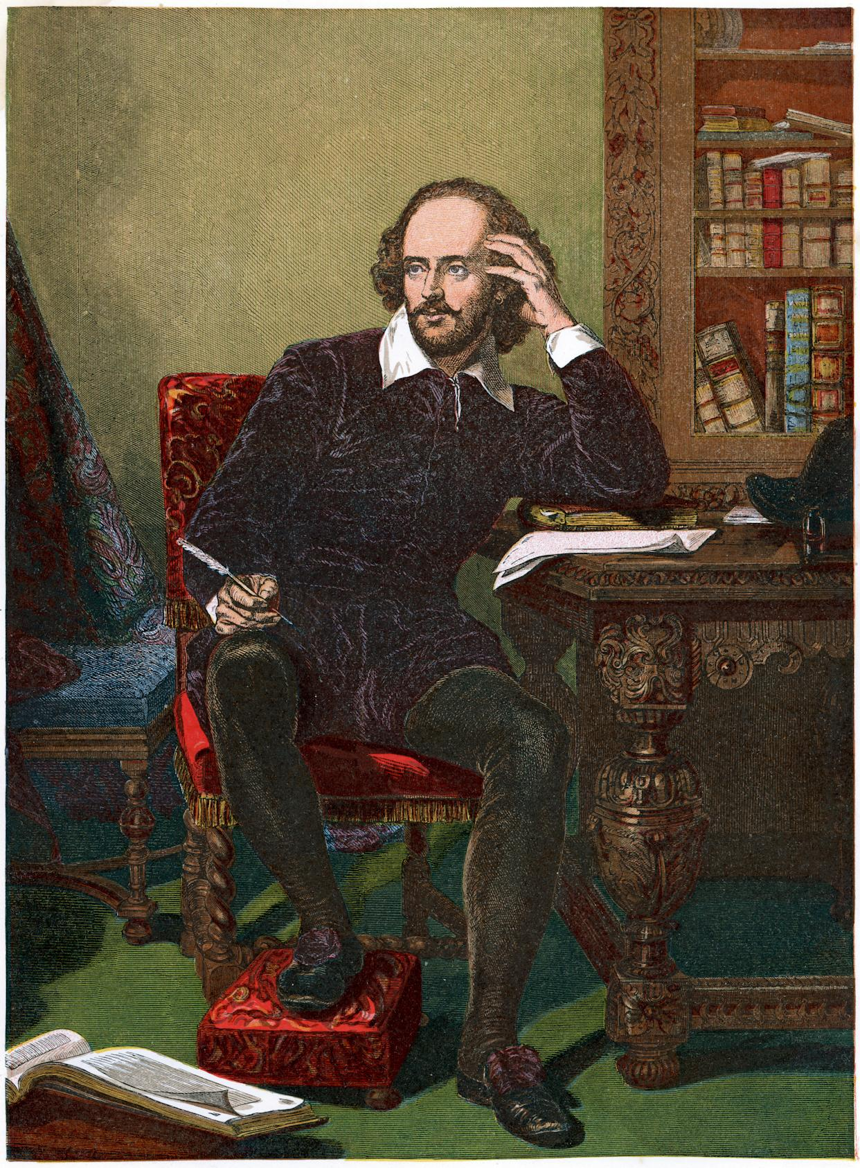 Vintage colour lithograph from 1853 of William Shakespeare, an English poet and playwright, widely regarded as the greatest writer in the English language and the world's pre-eminent dramatist.