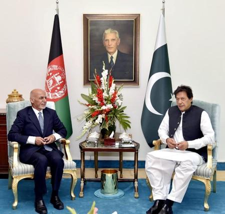 Pakistan's Prime Minister Imran Khan meets with Afghanistan's President Ashraf Ghani in Islamabad