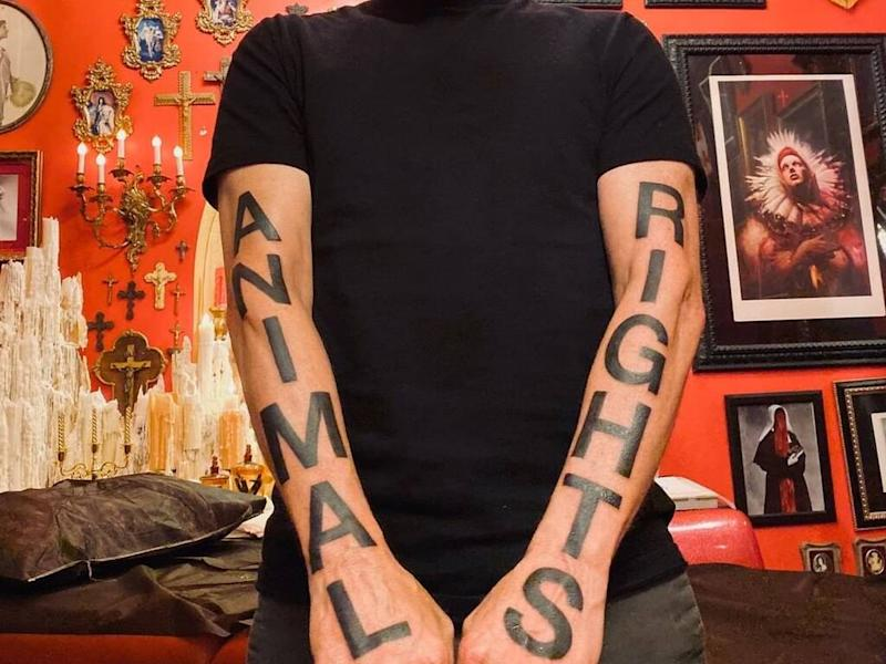 Moby unveils bold 'animal rights' arm tattoos