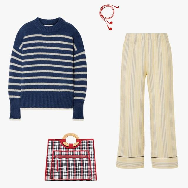 La Ligne Marin striped sweater, $295, net-a-porter.com; Happy Plugs earbuds, $25, happyplugs.com; Ganni Bergamot striped silk pants, $350, net-a-porter.com; Fendi bag, $2,790, fendi.com