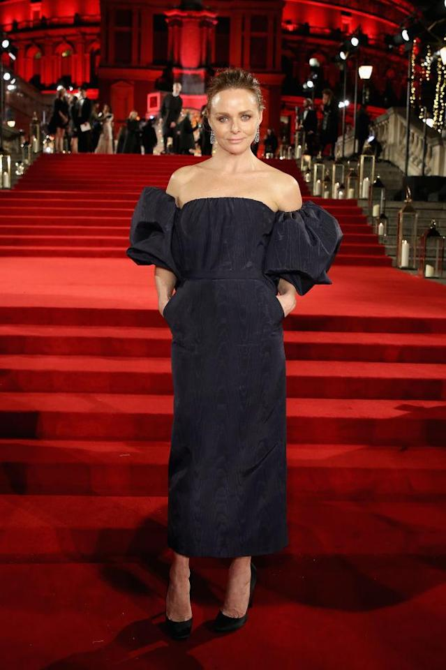 <p>Stella McCartney makes an unexpected style move with a cold-shoulder dress featuring puff sleeves. (Photo: Getty Images) </p>