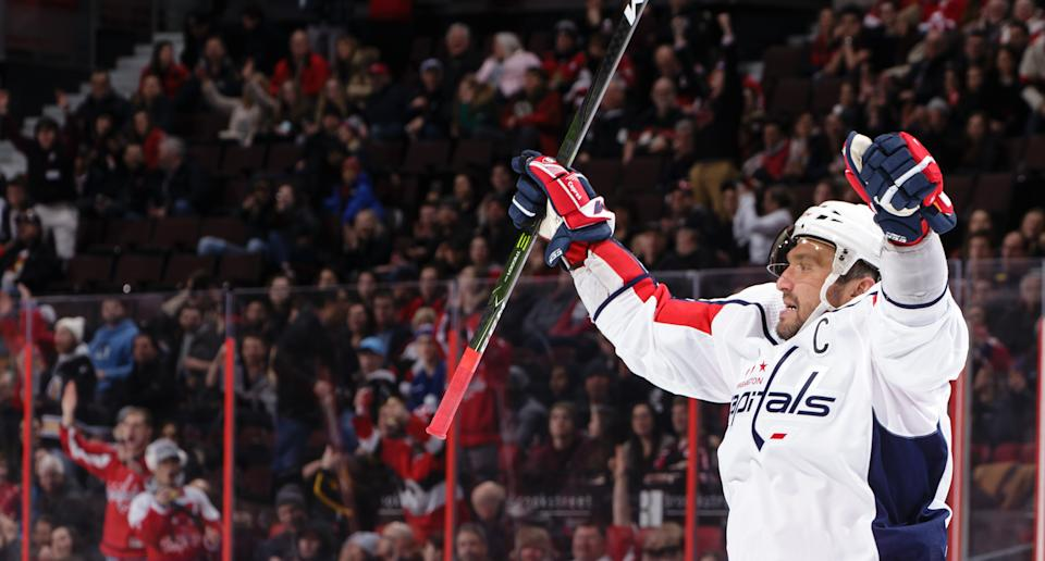 OTTAWA, ON - JANUARY 31:  Alex Ovechkin #8 of the Washington Capitals celebrates his third period empty-net goal, moving him past Mark Messier into 8th on the all-time NHL goals list, in a game against the Ottawa Senators at Canadian Tire Centre on January 31, 2020 in Ottawa, Ontario, Canada.  (Photo by Jana Chytilova/Freestyle Photography/Getty Images)