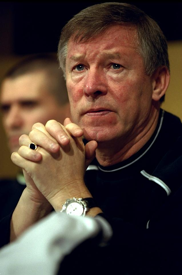30 Nov 1999:  Sir Alex Ferguson the Manchester United manager during the Toyota Cup Final between Manchester United and Palmeiras played at the Tokyo Stadium in Tokyo, Japan. \ Mandatory Credit: Shaun Botterill /Allsport