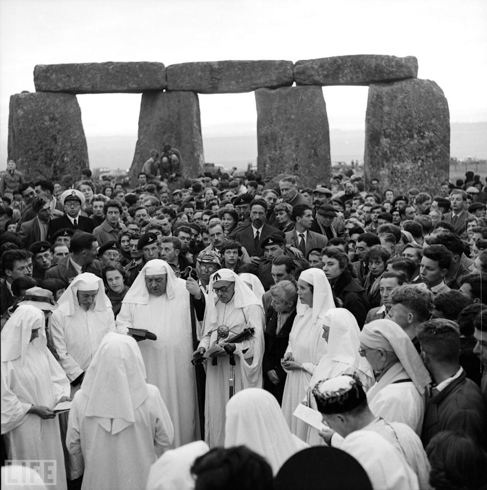 "Stonehenge, June 21, 1956, as Druids carry out the ""Dawn Ceremony"" on the summer solstice, the longest day of the year.  Harry Kerr/Getty Images"