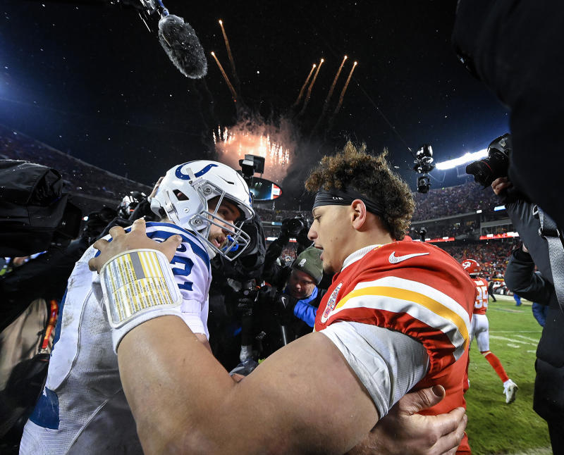 Kansas City Chiefs quarterback Patrick Mahomes, right, and Indianapolis Colts quarterback Andrew Luck meet on the field after the Chiefs' 31-13 win during an AFC Divisional game on Saturday, Jan. 12, 2019, at Arrowhead Stadium in Kansas City, Mo. (John Sleezer/Kansas City Star/TNS via Getty Images)