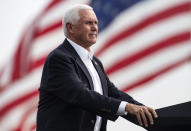 Vice President Mike Pence looks on during a break in his speech at a Republican campaign rally in Belgrade, Mont., on Monday, Sept. 14, 2020. (AP Photo/Tommy Martino)