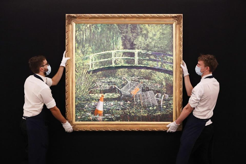Banksy's 'Show me the Monet' on display at Sotheby's in central London: PA