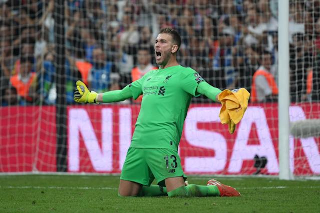 Adrian of Liverpool celebrates victory after saving the final penalty. (Credit: Getty Images)