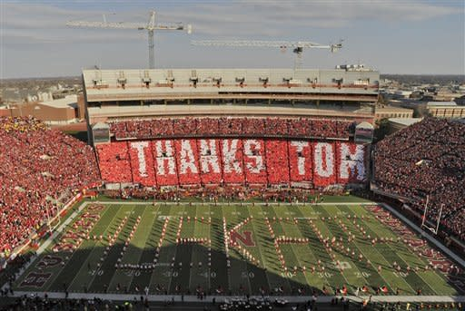"""The east side of Memorial Stadium spells out """"THANKS TOM"""" for retiring athletic director Tom Osborne Saturday, Nov. 17, 2012, at an NCAA college football game in Lincoln, Neb. (AP Photo/Lincoln Journal Star, Adam Wolffbrandt)"""