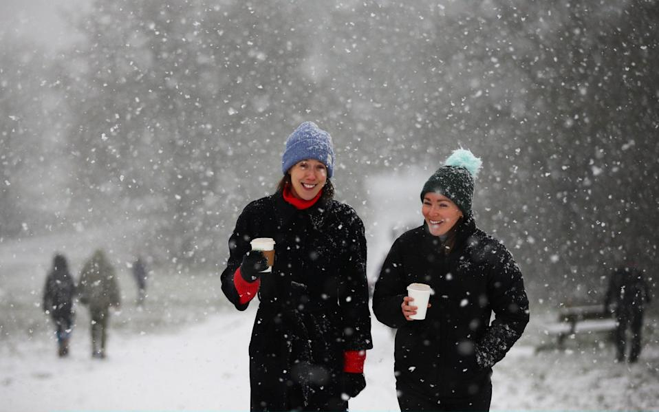 Snow in Hampstead Heath in London on Sunday - Hollie Adams/Getty Images Europe