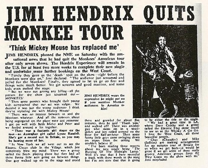 Jimi Hendrix's departure from the Monkees' 1967 tour makes NME headlines. (Photo: New Musical Express)