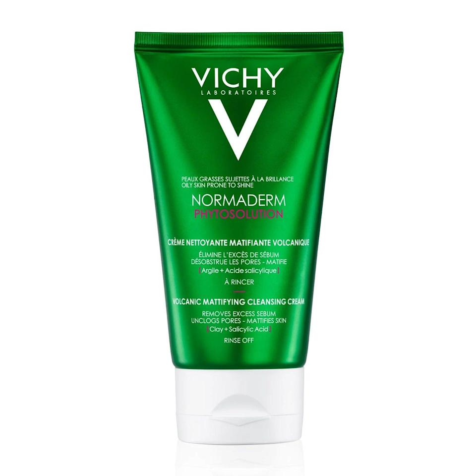 "This foaming cleanser is ultra gentle but lifts away all traces of dirt, dead skin and oil (that'll be the 10% clay) and exfoliates kindly (thanks to 0.5% salicylic acid) so that your skin doesn't feel taut afterwards. <br><br><strong>Vichy</strong> Normaderm Volcanic Mattifying Cleanser, $, available at <a href=""https://www.feelunique.com/p/Vichy-Normaderm-Phytosolution-Intensive-Purifying-Cleansing-Gel-125ml-FR"" rel=""nofollow noopener"" target=""_blank"" data-ylk=""slk:LookFantastic"" class=""link rapid-noclick-resp"">LookFantastic</a>"