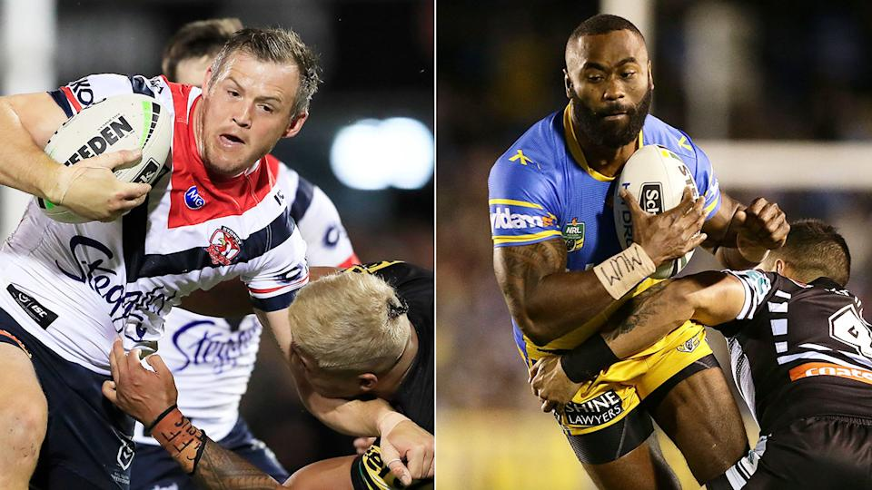 Pictured here, Roosters winger Brett Morris and Semi Radradra during his Eels playing days.