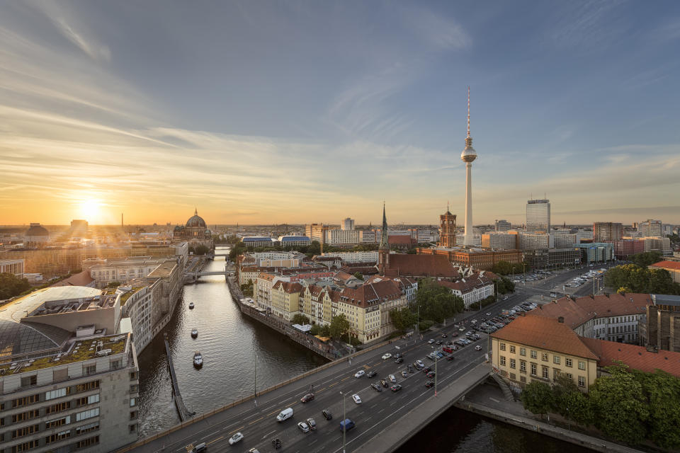 Television tower, the Red Town Hall, Berlin Cathedral and river Spree, Berlin, Germany