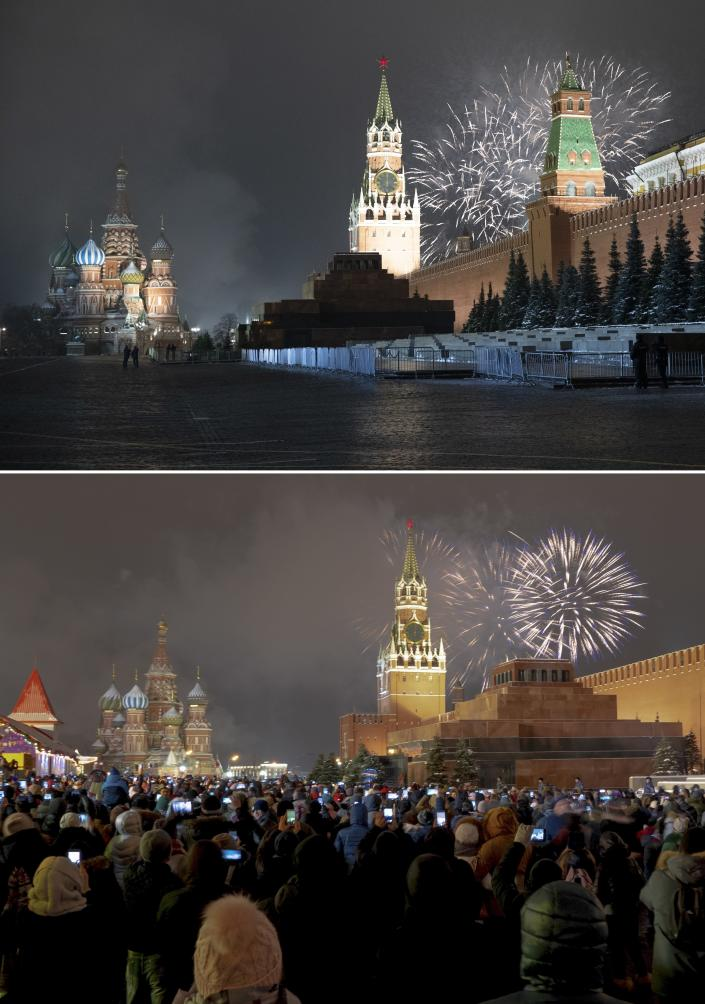 This combo image shows at top fireworks exploding over the Kremlin and the Spasskaya Tower with St. Basil's Cathedral at left in an almost empty Red Square during New Year's celebrations in Moscow, Russia, Thursday, Dec. 31, 2020 and below, a file photo taken from the same angle during New Year's celebrations on Dec. 31, 2019. As the world says goodbye to 2020, there will be countdowns and live performances, but no massed jubilant crowds in traditional gathering spots like the Champs Elysees in Paris and New York City's Times Square this New Year's Eve. The virus that ruined 2020 has led to cancelations of most fireworks displays and public events in favor of made-for-TV-only moments in party spots like London and Rio de Janeiro. (AP Photo/Pavel Golovkin, Denis Tyrin)
