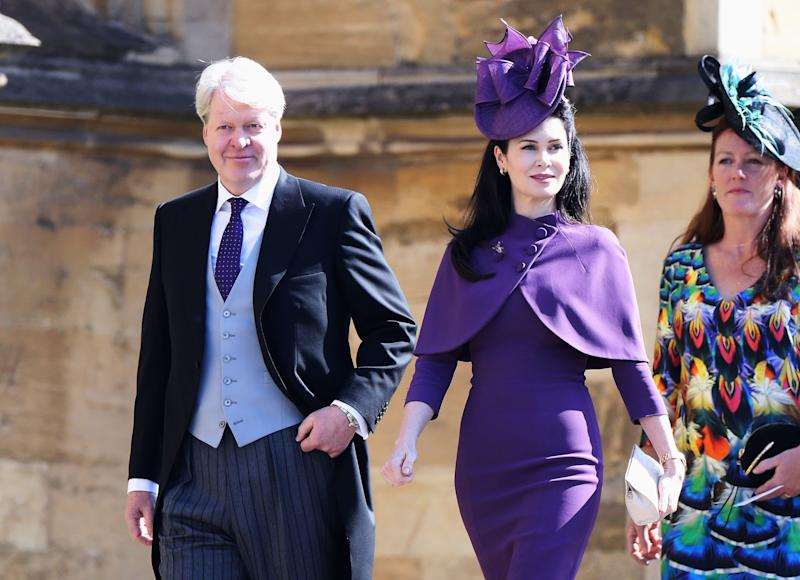Charles Spencer, 9th Earl Spencer and Karen Spencer arrive at the wedding of Prince Harry to Ms Meghan Markle at St George's Chapel, Windsor Castle on May 19, 2018 in Windsor, England.