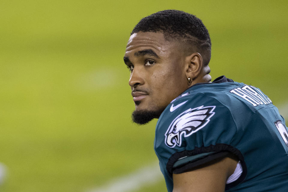 PHILADELPHIA, PA - NOVEMBER 30: Jalen Hurts #2 of the Philadelphia Eagles looks on prior to the game against the Seattle Seahawks at Lincoln Financial Field on November 30, 2020 in Philadelphia, Pennsylvania. (Photo by Mitchell Leff/Getty Images)