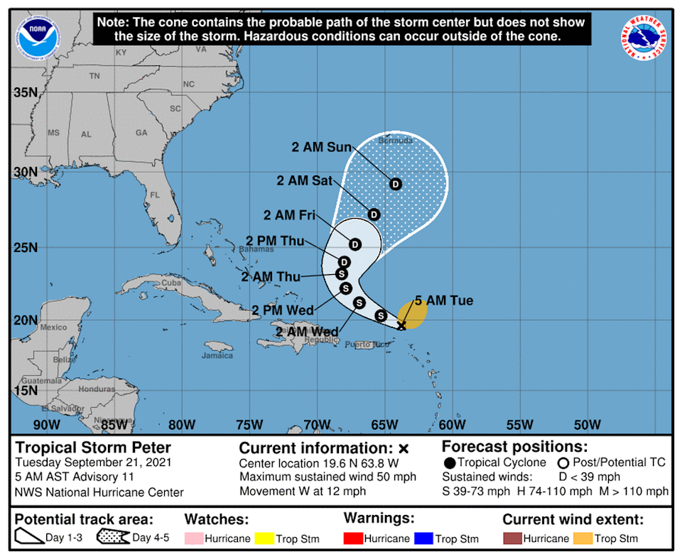 Tropical Storm Peter is close to Puerto Rico and the Caribbean but on its current track poses little threat.