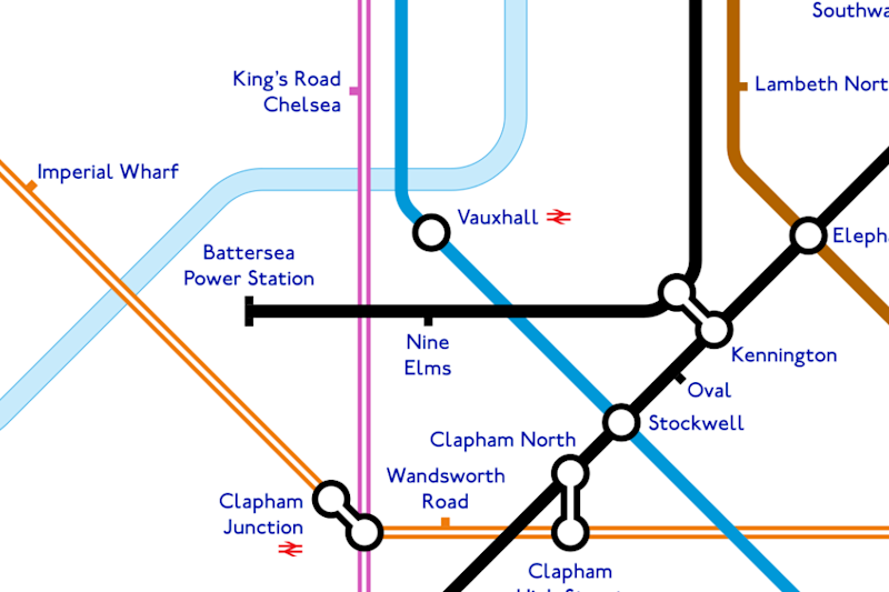 Northern line: The unofficial map shows a possible extension to Battersea Power Station (Alastair Carr)