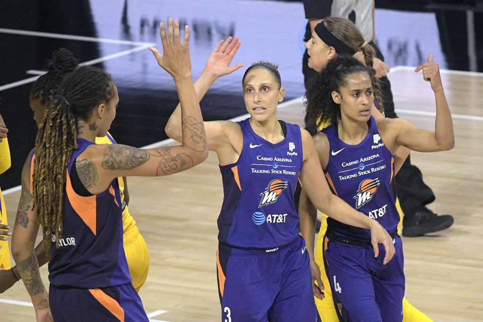 "Phoenix Mercury center <a class=""link rapid-noclick-resp"" href=""/wnba/players/5057/"" data-ylk=""slk:Brittney Griner"">Brittney Griner</a>, left, <a class=""link rapid-noclick-resp"" href=""/wnba/players/628/"" data-ylk=""slk:Diana Taurasi"">Diana Taurasi</a>, and <a class=""link rapid-noclick-resp"" href=""/wnba/players/5059/"" data-ylk=""slk:Skylar Diggins-Smith"">Skylar Diggins-Smith</a> are likely happy with the league's viewership this weekend. (AP Photo/Phelan M. Ebenhack)"