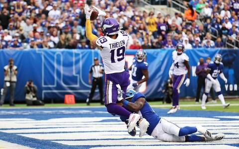 Adam Thielen #19 of the Minnesota Vikings catches a third Quarter Touchdown against Deandre Baker #27 of the New York Giants during their game at MetLife Stadium on October 06, 2019 in East Rutherford, New Jersey - Credit: Getty Images
