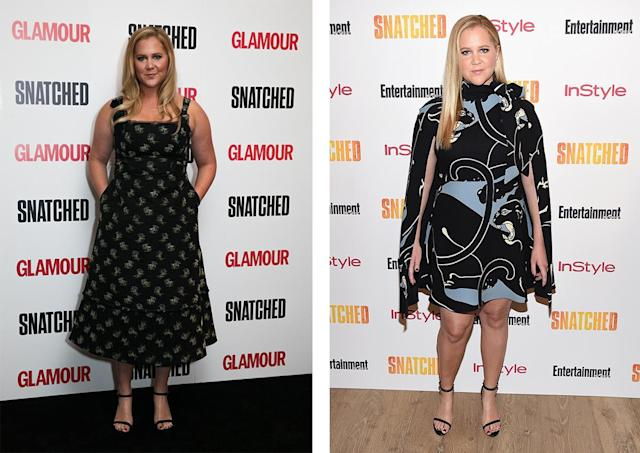 Amy Schumer in Erdem, left, and Valentino. (Photo: Getty Images)