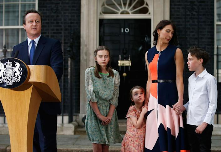 <p>JUL. 13, 2016 — Britain's outgoing Prime Minister, David Cameron, accompanied by his wife Samantha, daughters Nancy (C) and Florence and son Arthur, speaks before leaving number 10 Downing Street, on his last day in office as Prime Minister, in central London, Britain. (Peter Nicholls/Reuters) </p>