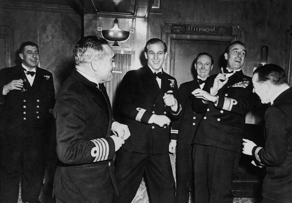 <p>The Duke of Edinburgh with friends at his bachelor party on November 20th, 1947. </p>