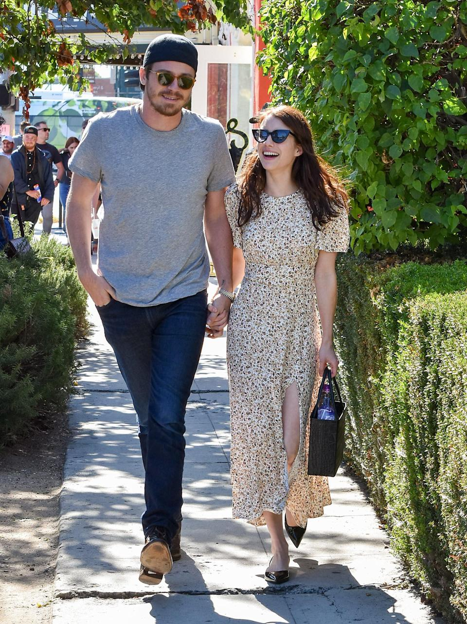 LOS ANGELES, CA - AUGUST 10: Garrett Hedlund and Emma Roberts are seen on August 10, 2019 in Los Angeles, California.  (Photo by BG015/Bauer-Griffin/GC Images)