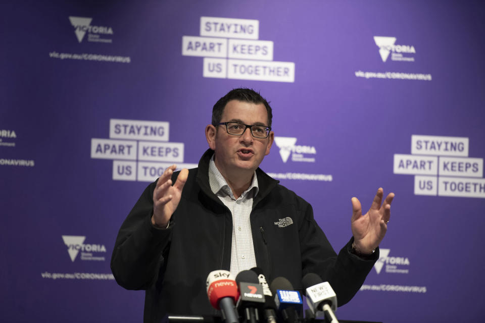 Victorian Premier Daniel Andrews speaks to the media during a press conference in Melbourne, Monday, July 6, 2020. As Australia is emerging from pandemic restrictions, the Victoria state capital Melbourne is buckling down with more extreme and divisive measures that are causing anger and igniting arguments over who is to blame as the disease spreads again at an alarming rate. (AP Photo/Andy Brownbill)