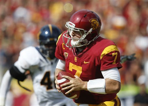 Southern California quarterback Matt Barkley looks to pass during the first half of an NCAA college football game against California in Los Angeles, Saturday, Sept. 22, 2012. (AP Photo/Jae C. Hong)
