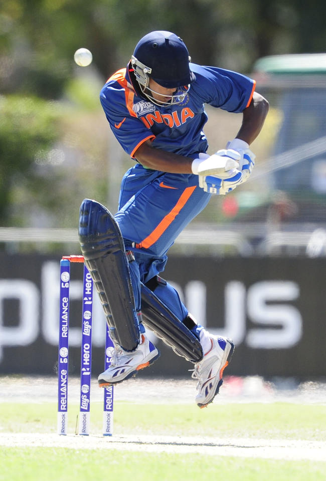 TOWNSVILLE, AUSTRALIA - AUGUST 12:  Akshdeep Nath of India bats during the ICC U19 Cricket World Cup 2012 match between the West Indies and India at Tony Ireland Stadium on August 12, 2012 in Townsville, Australia.  (Photo by Ian Hitchcock-ICC/Getty Images)
