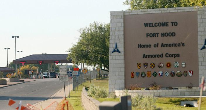 The entrance to Fort Hood Army Base in Texas is shown in a 2009 file photo.
