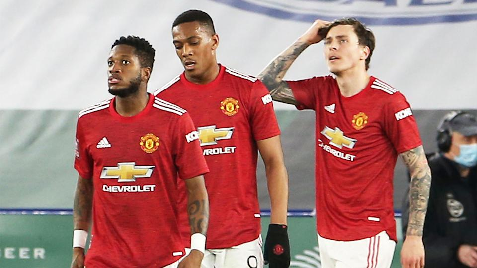 Manchester United players Fred, Anthony Martial, Victor Lindelof (pictured) looking frustrated after conceding to Leicester.