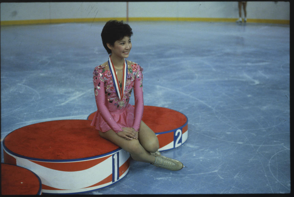 (Original Caption) Missouri: Tiffany Chin, women's Single Champion at the U. S. Figure Championships, Kansas City, Missouri.
