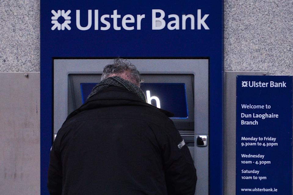 A man seen at an Ulster Bank ATM, in Dún Laoghaire area of Dublin, during Level 5 Covid-19 lockdown.  On Thursday, February 11, 2021, in Dublin, Ireland. (Photo by Artur Widak/NurPhoto via Getty Images)