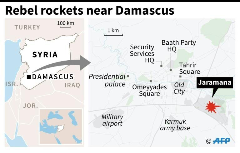 Map locating Jaramana in Syria, where rebel rockets smashed into a local market, killing at least two dozen people