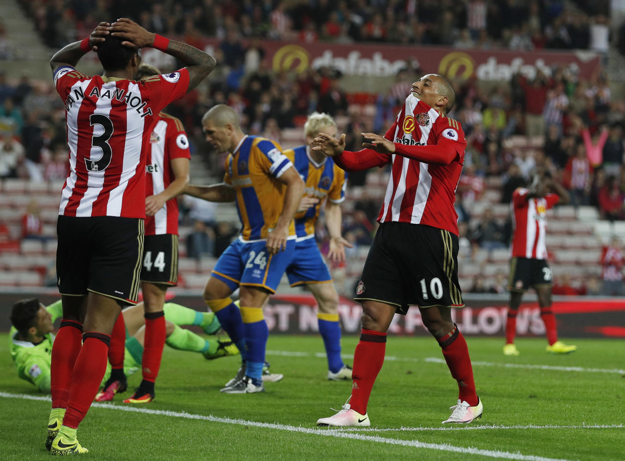 "Football Soccer Britain - Sunderland v Shrewsbury Town - EFL Cup Second Round - The Stadium of Light - 24/8/16 Sunderland's Wahbi Khazri looks dejected after a missed chance Action Images via Reuters / Lee Smith Livepic EDITORIAL USE ONLY. No use with unauthorized audio, video, data, fixture lists, club/league logos or ""live"" services. Online in-match use limited to 45 images, no video emulation. No use in betting, games or single club/league/player publications.  Please contact your account representative for further details."