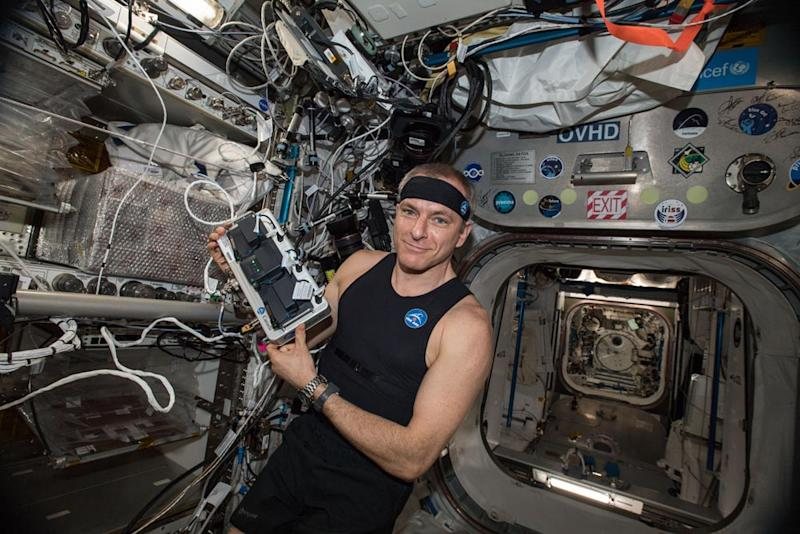 Astronaut Suits Up in 'Smart' Astroskin Jersey on Space Station