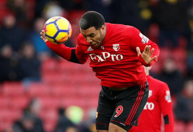 """Soccer Football - Premier League - Watford vs Everton - Vicarage Road, Watford, Britain - February 24, 2018 Watford's Troy Deeney during the warm up before the match REUTERS/David Klein EDITORIAL USE ONLY. No use with unauthorized audio, video, data, fixture lists, club/league logos or """"live"""" services. Online in-match use limited to 75 images, no video emulation. No use in betting, games or single club/league/player publications. Please contact your account representative for further details."""
