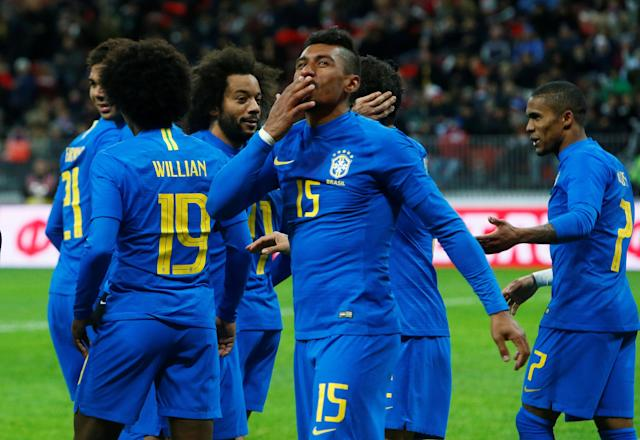 Soccer Football - International Friendly - Russia vs Brazil - Luzhniki Stadium, Moscow, Russia - March 23, 2018 Brazil's Paulinho celebrates scoring their third goal REUTERS/Sergei Karpukhin