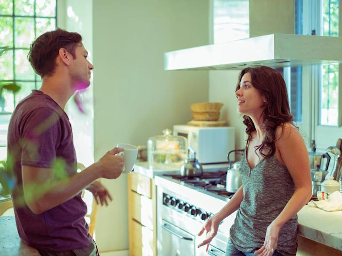 arguing over food in kitchen