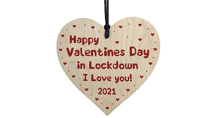 RED OCEAN Happy Valentines Day In Lockdown Gift Wooden Heart Gift